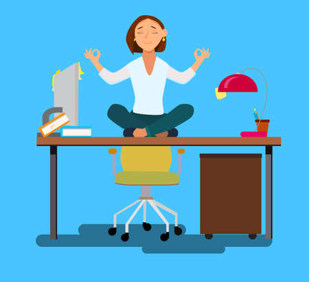Business woman meditating in lotus pose on office chair in office room. Vector illustration in cartoon style. Stock Illustratie