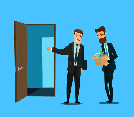 Fired office worker and boss. Vector illustration in flat design style cartoon.