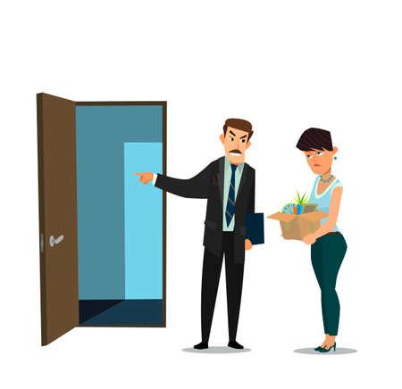 Fired office worker and boss. Vector illustration in flat design style cartoon. Standard-Bild - 112104059