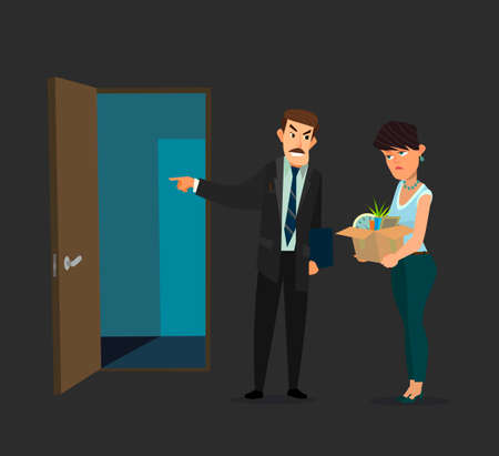 Fired office worker and boss. Vector illustration in flat design style cartoon. Vektorové ilustrace