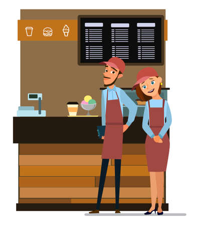 Coffee and confectionery business. Man and woman standing in front of the counter. Takeaway cafe business interior.Vector illustration in cartoon style. Standard-Bild - 112104061
