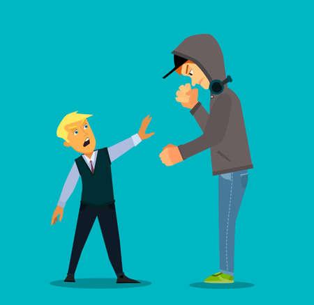 Un plus grand garçon intimidant un plus petit i Stress émotionnel - étudiant adolescent avec peur. Illustration vectorielle dans un style plat.
