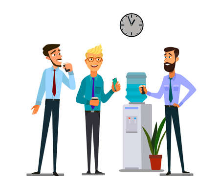 Chat más fresco de la oficina. Trabajadores varones jóvenes que tienen una conversación informal alrededor de un enfriador de agua en el lugar de trabajo, colegas refrescándose durante un descanso. Ilustración de vector.