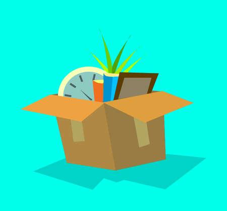 Siendo despedido. una caja de sus cosas de oficinista. Ilustración de vector de estilo plano. Ilustración de vector