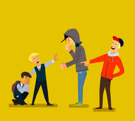 Bigger boy bullying a smaller one i Emotional Stress - teenager student with fear. Vector illustration in a flat style. Ilustrace