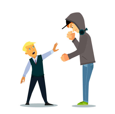 Bigger boy bullying a smaller one i Emotional Stress - teenager student with fear. Vector illustration in a flat style. Ilustração