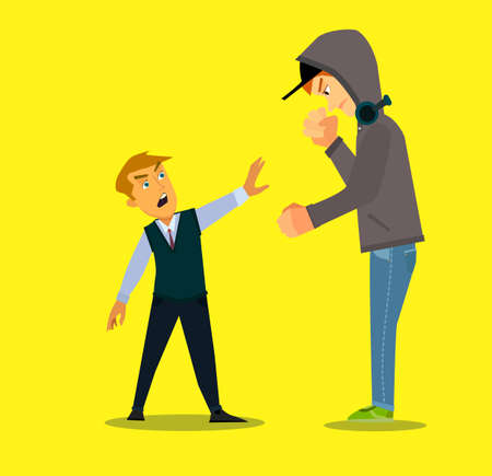 Bigger boy bullying a smaller one i Emotional Stress - teenager student with fear. Vector illustration in a flat style.