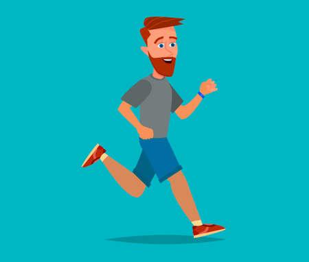 One caucasian man running. Vector illustration in cartoon style.