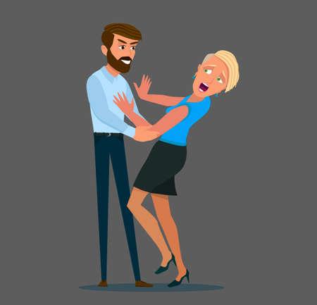 Konzept der sexuellen Belästigung und des Missbrauchs. Unangemessenes Verhalten bei der Arbeit. Mann berührt Frau ohne Erlaubnis. Vektorgrafik