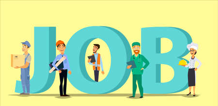 Inscription job and people with phones and laptops. HR, employment, recruitment. Flat style vector illustratuion.