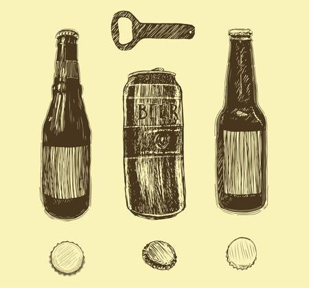 Poster beer with four main types lettering classic, light, white, dark, red drawing with chalk in vintage style on chalkboard. Banco de Imagens - 127724269