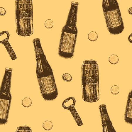 Beer seamless pattern. Repeating hand-drawing colorful glasses of beer, oktoberfest beer. Vector. Banco de Imagens - 127724271