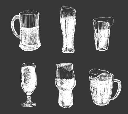 Poster beer with four main types lettering classic, light, white, dark, red drawing with chalk in vintage style on chalkboard.