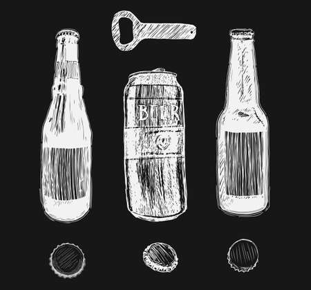 Beer set in graphic style from hand drawing image. Vector illustration of glasses and mug, hops, malt, barrels and bottle.