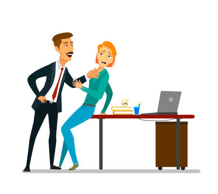 Sexuelle Belästigung am Arbeitsplatz. Vektor-Illustration im Cartoon-Stil,