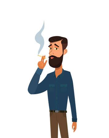 L'uomo sta fumando una sigaretta. Dipendenza dal tabacco. Il concetto di uno stile di vita malsano. Illustrazione vettoriale in stile cartone animato