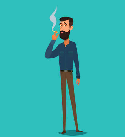 Man is smoking a cigarette. Tobacco dependence. The concept of an unhealthy lifestyle. Vector illustration in cartoon style Banco de Imagens - 127724279