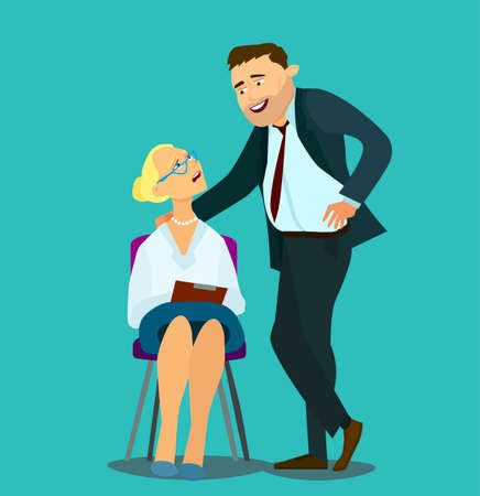 sexual harassment at work, office woman and her lustful boss, Vector illustration in cartoon style, Banco de Imagens - 127724281