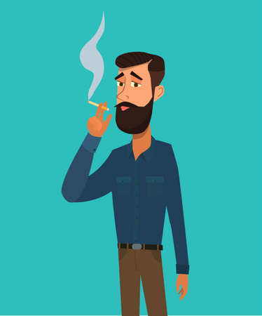 Man is smoking a cigarette. Tobacco dependence. The concept of an unhealthy lifestyle. Vector illustration in cartoon style Ilustração