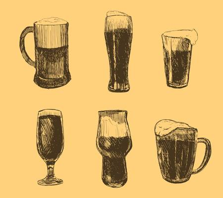 Vector set of beer glasses and mugs in ink hand drawn style. isolated on white. Banco de Imagens - 127724283