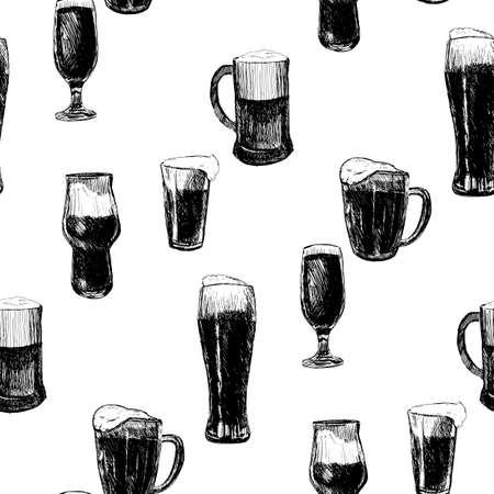Beer seamless pattern. Repeating hand-drawing colorful glasses of beer, oktoberfest beer. Vector.