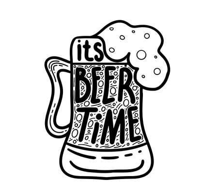 Beer related typography quote. Hand lettered calligraphic design. Design element for beer pub. Vector vintage illustration. Illustration