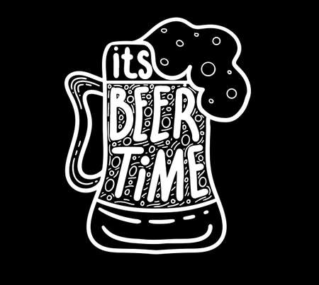 Conceptual handwritten phrase- Keep calm and drink beer. Hand drawn tee graphic. Typographic print poster. T shirt hand lettered calligraphic design. Vector illustration. Standard-Bild - 118097417