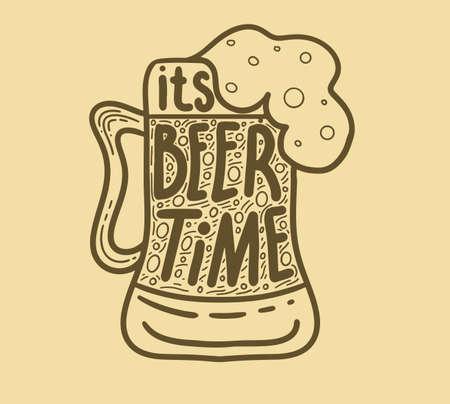 Beer related typography quote. Hand lettered calligraphic design. Design element for beer pub. Vector vintage illustration. Standard-Bild - 118097422