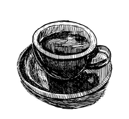 Coffee cups hand drawn vector illustration. Hot drinks take away concept. Standard-Bild - 118097428