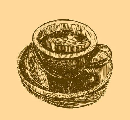 Coffee cups hand drawn vector illustration. Hot drinks take away concept. Standard-Bild - 118097431