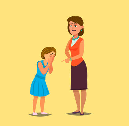 Mother reprimanding disobedient child. Vector illustration in cartoon style. Ilustração