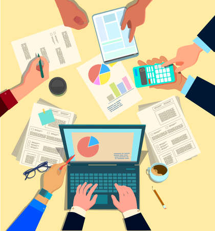 Concept design of business teamwork, meeting and planning people sitting at the office table, top view. Marketing, hr, accounting department collaboration. Vector illustration in cartoon style Standard-Bild - 118097432