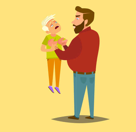 A father beats his children. the concept of violence and abuse. Vector illustration in cartoon style.