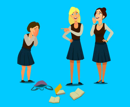 Education, bullying, violence, aggression and the concept of people is a teenage girl who is bullied by her classmates by covering her face with her hands. Bullying at school. Vector illustration in cartoon. Banco de Imagens - 125842316