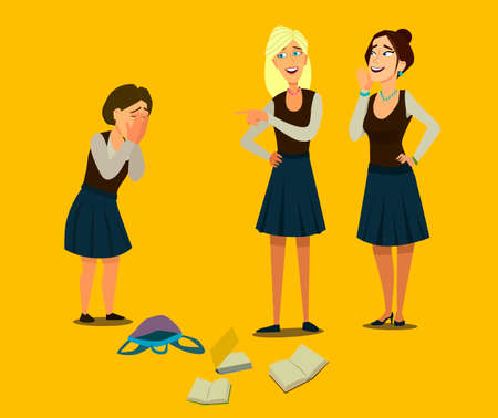 Education, bullying, violence, aggression and the concept of people is a teenage girl who is bullied by her classmates by covering her face with her hands. Bullying at school. Vector illustration in cartoon. Banco de Imagens - 125842319