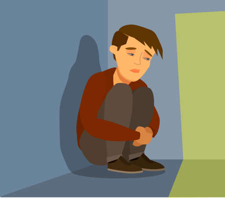 Frustrated sad child in stress sitting and crying in an empty dark room. Vector illustration in cartoon style.