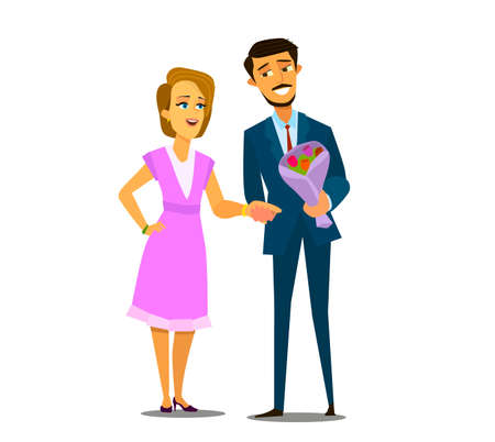 Couple in love .A man gives a bouquet of flowers to his girlfriend.Vector illustration in cartoon style.