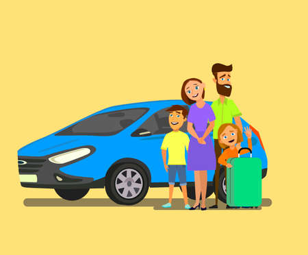 Happy family near the car with luggage. Family travel in a vehicle. Vector illustration in cartoon style. Banco de Imagens - 125842332