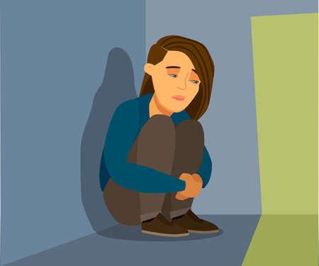 Frustrated sad child in stress sitting and crying in an empty dark room. Vector illustration in cartoon style. Standard-Bild - 115897464