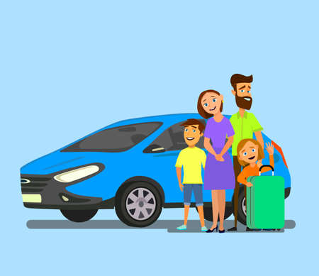 Happy family near the car with luggage. Family travel in a vehicle. Vector illustration in cartoon style.