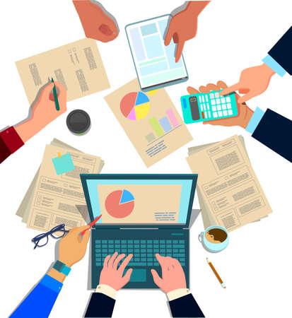 Concept design del lavoro di squadra aziendale, riunione e pianificazione di persone sedute al tavolo dell'ufficio, vista dall'alto. Collaborazione reparto marketing, risorse umane, contabilità. Illustrazione vettoriale in stile cartone animato Vettoriali