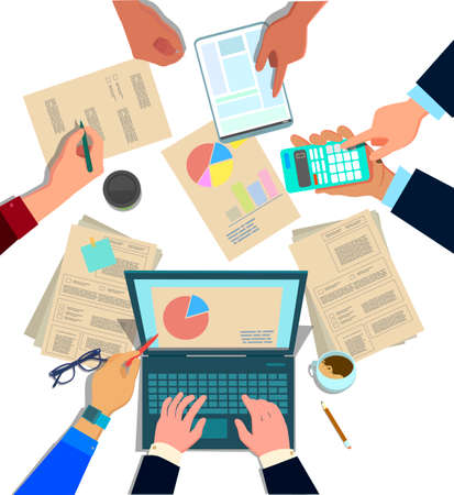 Concept design of business teamwork, meeting and planning people sitting at the office table, top view. Marketing, hr, accounting department collaboration. Vector illustration in cartoon style