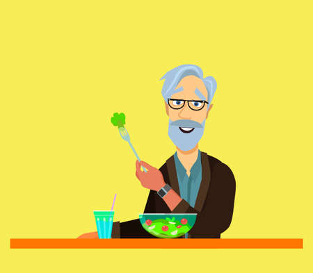 elderly man eating. He is sitting Eat fish steak on the table, apple and glass. Healthy food concept for the elderly. Vector illustration isolated white background.