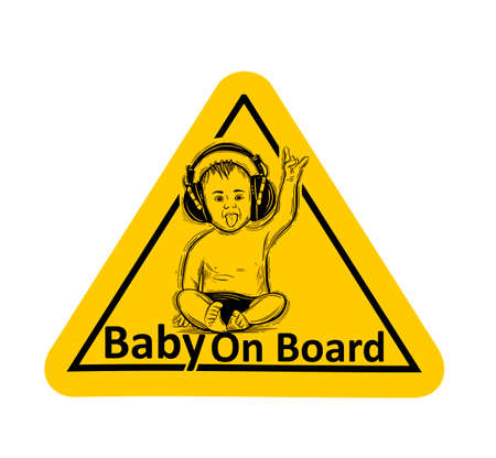 Baby On Board. The sticker on the back window of the car. Children vector illustration with text. Standard-Bild - 118097433