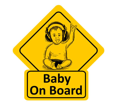 Baby On Board. The sticker on the back window of the car. Children vector illustration with text. Standard-Bild - 118097434