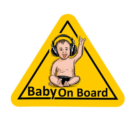 Baby On Board. The sticker on the back window of the car. Children vector illustration with text. Standard-Bild - 118097435