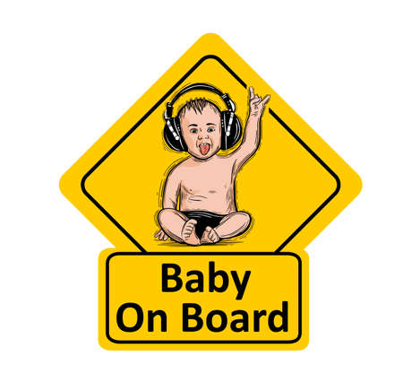 Baby On Board. The sticker on the back window of the car. Children vector illustration with text. Standard-Bild - 118097436