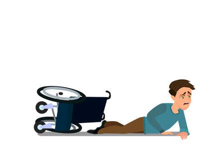 Little boy fell off wheelchair sitting on the floor. Vector illustration in cartoon style.