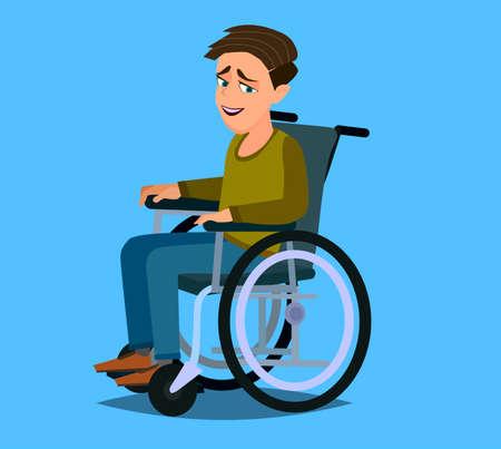 Little boy in wheelchair Colorful flat style cartoon vector illustration.
