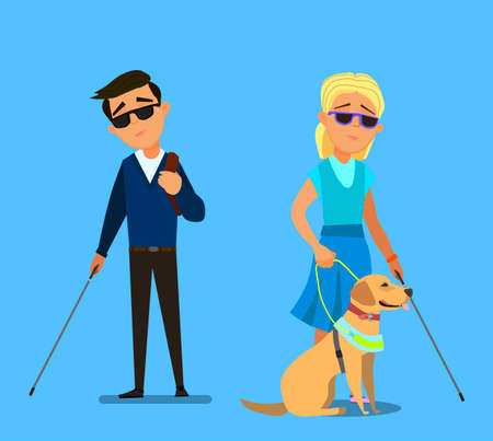 Blind children being Guided by a Seeing Eye Dog. Vector illustration in cartoon style. Stock Illustratie